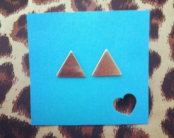 small gold triangle stud earrings in surgical steel
