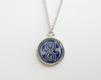 Seal of Rassilon Necklace - Tardis Blue and Silver
