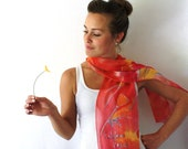 Red Silk Scarf - Poppies - Hand Painted Silk Scarf - Fall Fashion -Flowers Scarf -Red and Orange