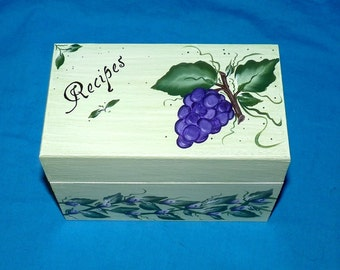 Custom Recipe Box Personalized Recipe Card Box Wood Recipe Organizer Holder Wedding Hand Painted Grapes Bridal Shower Gift Housewarming
