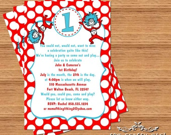 Thing 1 & 2 Birthday Party Invitations -- DIY