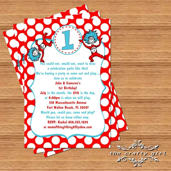 Thing 1 2 Birthday Party Invitations By