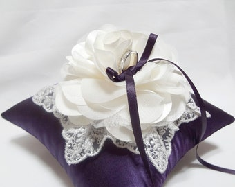 Purple ring bearer pillow, ivory bloom with silver lace on eggplant ring pillow, shangrila ring pillow,eggplant ring pillow