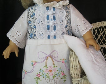 "Nightgown for 18"" dolls like American Girl, made from vintage linens with embroidery and crochet, for historical era dolls, victorian, retro"