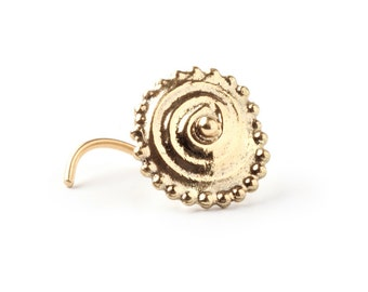 Big mama Nose stud - nose jewelry - 14k gold nose stud - stud - gipsy style - yellow gold - tragus