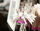 25 Custom Paper Straws With Flags/ Choose Your Colors/ Wedding