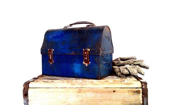 Vintage Lunch Box Industrial Storage