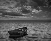 Anchored Row Boat looking out to Sea A Nautical Black and White Fine Art Wall Decor Photograph