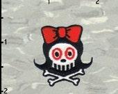 Artist Chico Von Spoon Girl Skull Embroidered Iron On Applique Patch FD 1 INCH