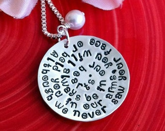 Hand Stamped Phrase or Message Necklace - Personalized - Remembrance Necklace - Round Disc with Phrase and Hanging Swarovski Crystal Pearl