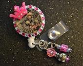 Mossy Oak Pink Crown Retractable ID Badge Holder, ID Holder Reel, ID Clip, Medical, Nursing,Office, Doctor
