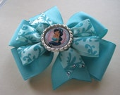 Disney Princess Jasmine Inspired Hair Bow, Aqua Blue, Swarovski Crystals