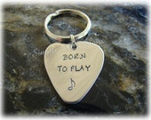 Personalized Guitar Pick Keychain