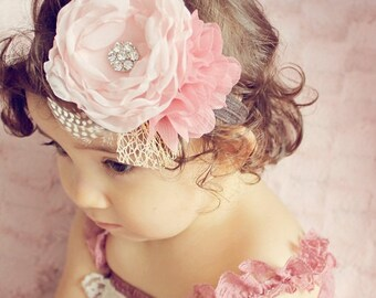 Blush Headband..Baby Headband..Blush Headband...Rustic Flower Girl Headband...Vintage-inspired Headband..Blush Wedding...Thanksgiving