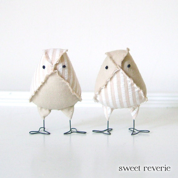 Custom Order for Stephanie - RUSH - MINI Wedding Cake Topper Vintage Fabric Love Birds, Tan and White Seersucker with Muslin - Made to Order