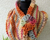CROCHET PATTERN Scarf Cowl Happy Autumn Colors, Cowl Scarf Ruffled Edges With Flower, Fall Craft, Instant Download Lyubava Pattern Pdf No.58