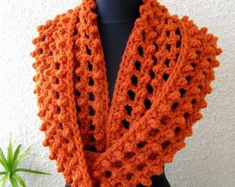 CROCHET PATTERN Chunky Scarf, Circle Infinity Orange Scarf, Autumn Gifts, Fall DIY Craft, Instant Download Lyubava Crochet Pattern Pdf No.62