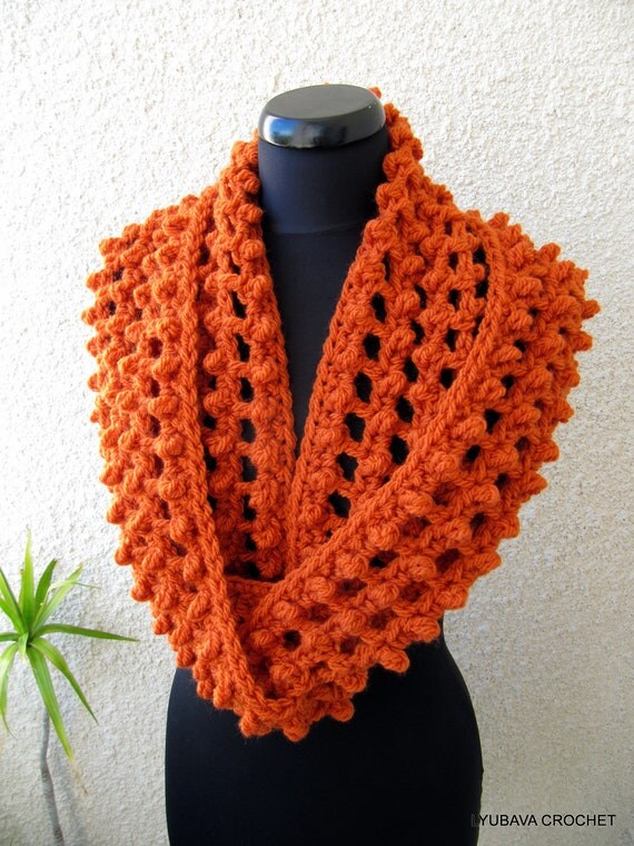 CROCHET PATTERN Chunky Scarf, Circle Infinity Orange Scarf, Autumn Gifts, Fall DIY Craft, Instant Download Lyubava Crochet Pattern Pdf No.62