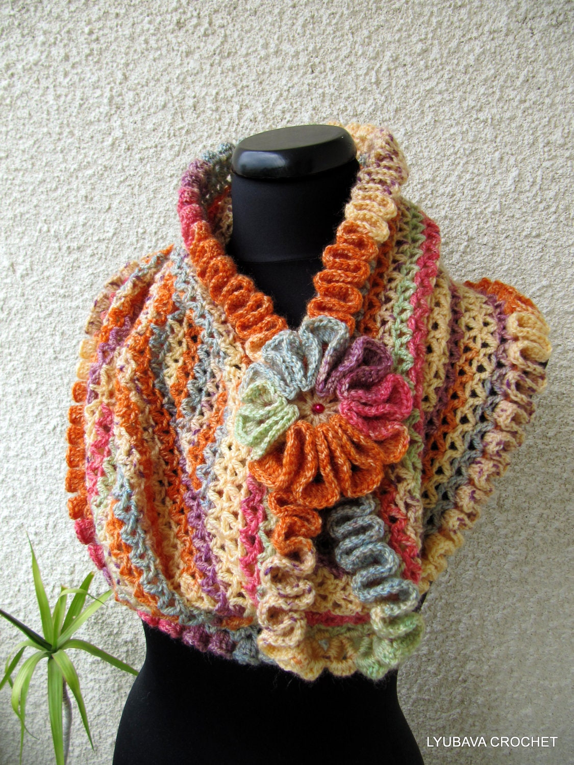 crochet cowl scarf pattern autumn colors scarf diy scarf