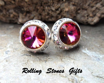 12mm Cathedral and Silver Swarovski Surrounds Flat back Rhinestone Stud Earrings-Large Color Changing Rivoli Surrounds Crystal Studs