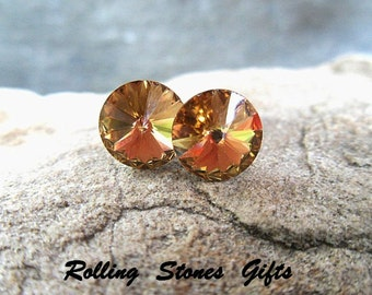 8.4mm Light Colorado Topaz Swarovski Rivoli Rhinestone Stud Earrings-Light Topaz Crystal Studs-Topaz Rivoli Pierced Earrings