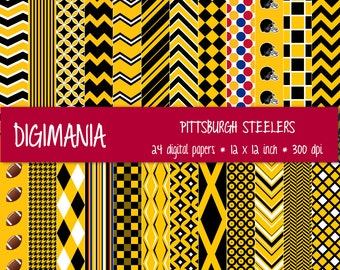 OFF %40 - INSTANT DOWNLOAD - Digital Paper Pack  -  Pittsburgh Steelers Colors - Gold, Black and White 24 Printable Papers