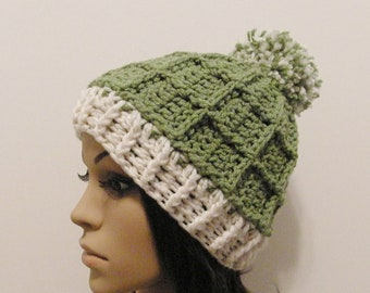Epic Ribbed Snow Beanie With PomPom- Lettuce and Eggshell - Made to order - Mens and womens hat