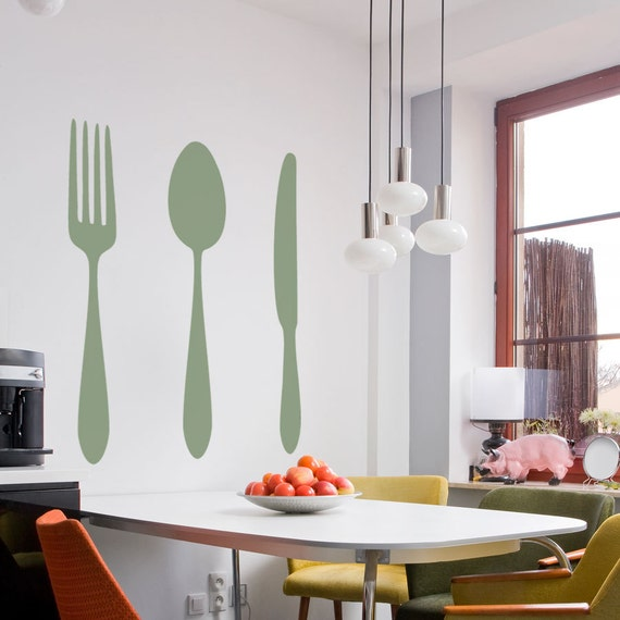 Dining cutlery silhouette set vinyl wall decal sticker for Kitchen dining room wall art