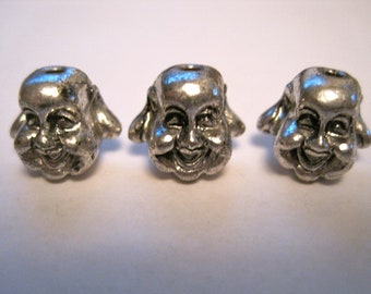3 PEWTER Happy SMILEY Buddha Beads