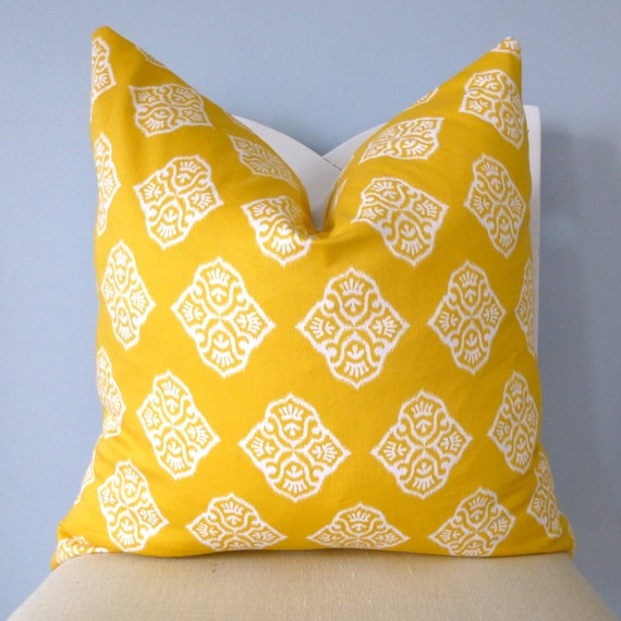Yellow and White & Blue and White Medallion Decorative Pillow Cover 18 x 18 (RESERVED FOR EMILIE)