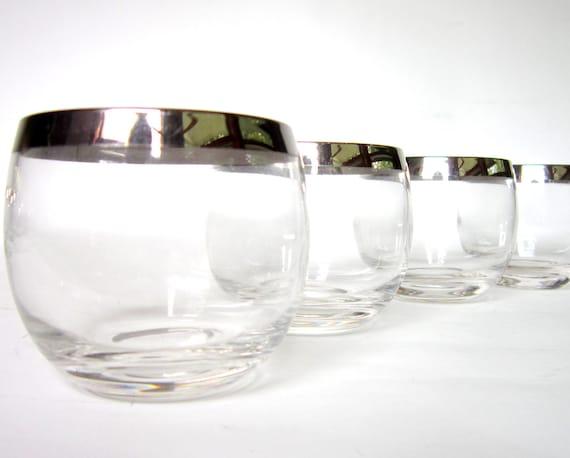 Set of 6 Dorothy Thorpe Era Roly Poly Glasses Allegro Silver Band Mad Men Mid-Century Modern Barware Glassware