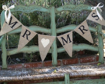 Mr. & Mrs. burlap banner - Wedding Banner - Photography prop - wedding garland sign