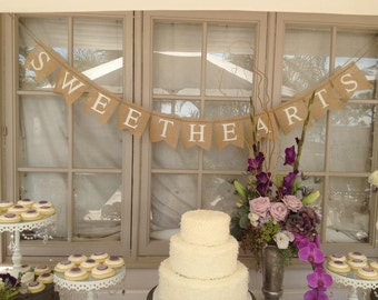 Sweethearts Glittered Burlap Banner Wedding Banner - Hearts - sweet love bunting