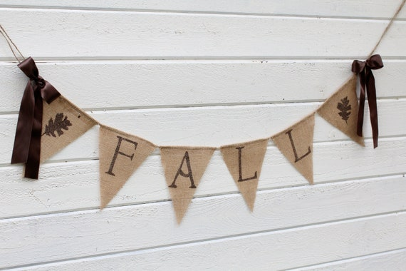 FALL burlap banner -glittered brown lettering with shimmery leaves