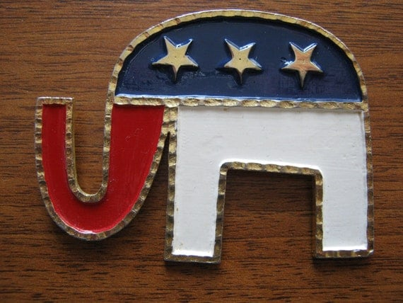 1980s Conservative Campaign Election Republican Party Elephant Brooch