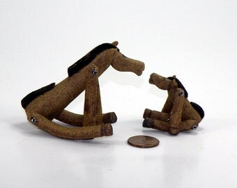 Joined at the Hip Horse Duo - Mother and Child  or Father and Son- Jointed Posable Stoneware Ceramic Sculptures