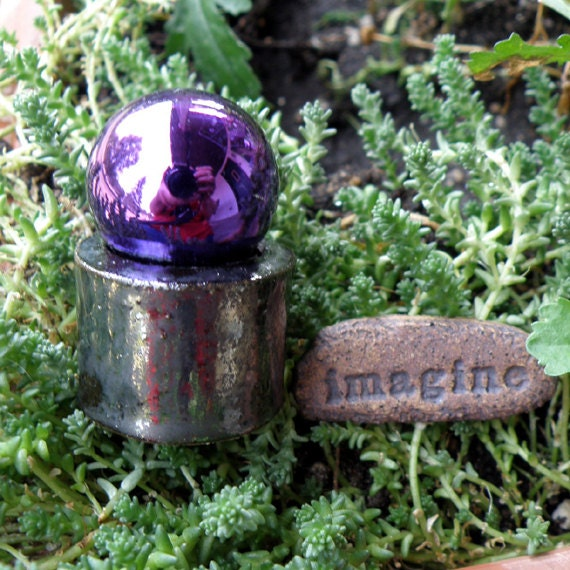 Gazing Ball and Stepping Stone - Miniature items for Fairy Garden - Tiny Stoneware Pottery Sculptures Gazing Ball and Stepping Stone