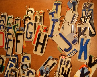 Keychain made with recycled license plate.