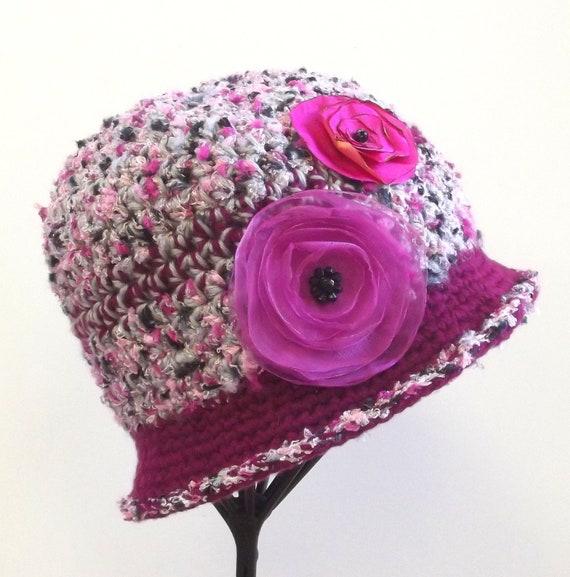 Pink Flower Crochet Cloche