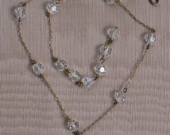 Crystal Bead Chain Necklace Choker - Vintage Antique Jewelry