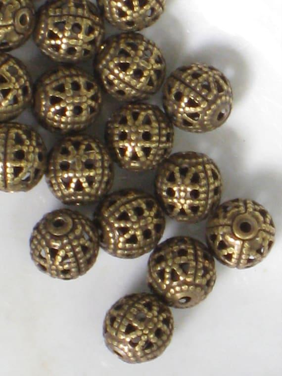 18 Vintage Brass Ox Filagree Tiny Round Cage Beads - NOS