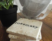 Stamped Herb Travertine Tile Coasters- Set of Four
