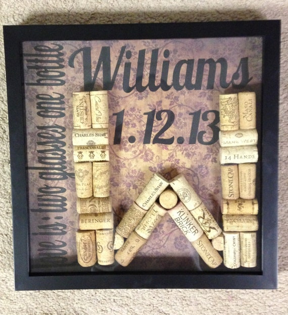 Wedding Gift Shadow Box : Personalized Wedding Gift Shadow Box with Framed Wine Cork Initial