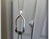 Wishbone charm necklace in sterling silver, Sterling Silver Wishbone Necklace. Lucky Charm.