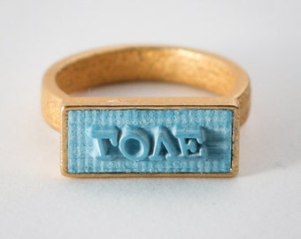 LOVE - stamp ring, unique ring, word jewlery, individual ring, statement ring, signet ring, 24K gold plated steel
