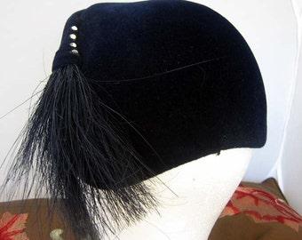 Indigo Blue Velvet Vintage Hat