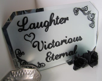 Upcycled Vintage Bevel Edge Frosted Mirror Love Black Lettering