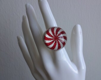 Peppermint Drop Ring - MoonTideArt Original - Candy Cane Snow Globe Ring - Handmade in the USA - Stocking Stuffer - Peppermint Candy - Ring