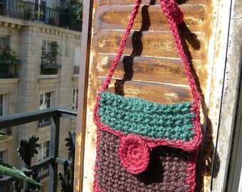 SALES,handmade crocheted jute twine bag,colourful,green,red,brown,autumn,fall colors