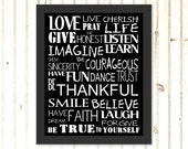 Digital Download Print Love Live Pray Life Rules to Live By Typography Printable Art PDF Jpg Downloadable Print